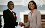 US Secretary of State Rice shake hands with Equatorial Guinea's President Teodoro Obiang Nguema at State Department in Washington