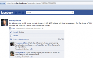 Penny Sikora defends animal abuse on Facebook