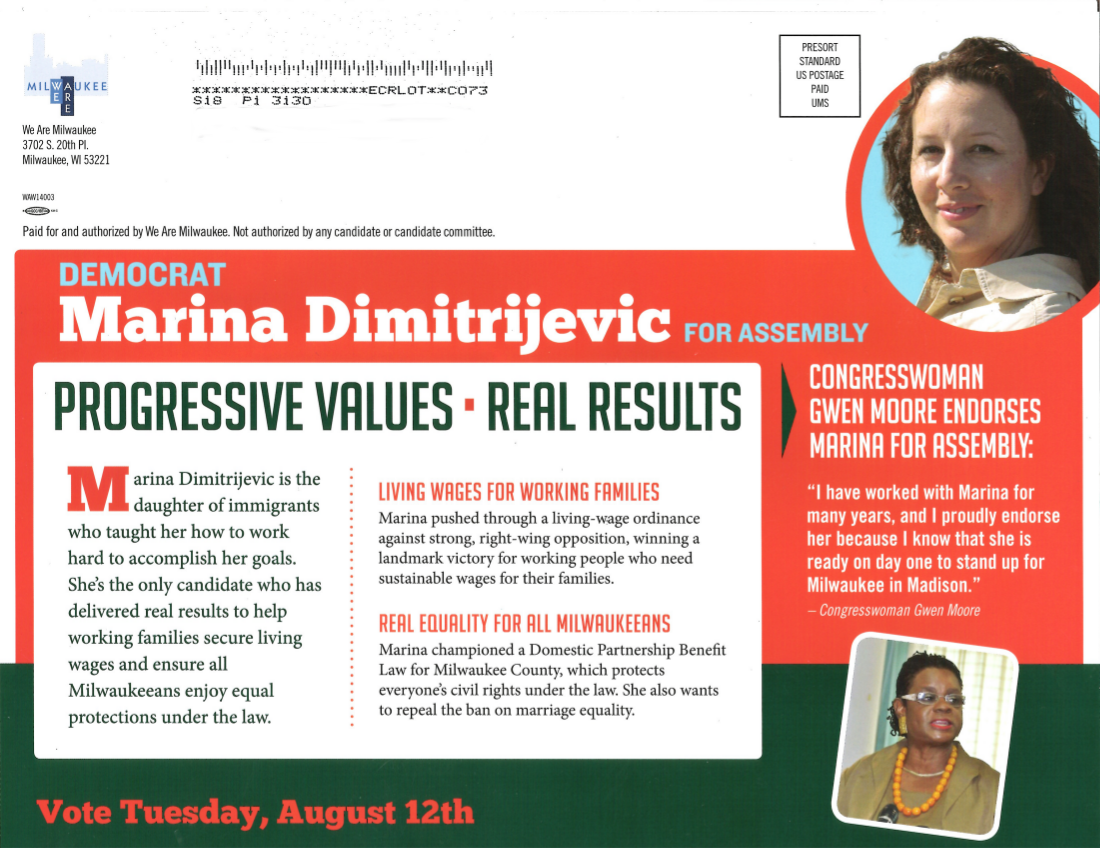 The odd mailer sent out on behalf of Marina Dimitrijevic (UPDATED)
