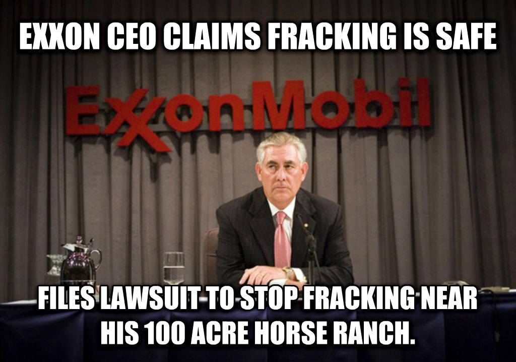 Exxon Mobil opposes fracking regulations but sues to stop fracking near his horse ranch