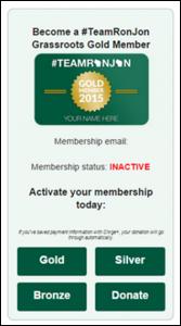 """Team RonJohn"" membership card"